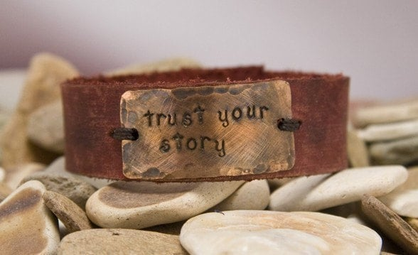 Leather Cuff, inspirational sayings, custom made, trust your story