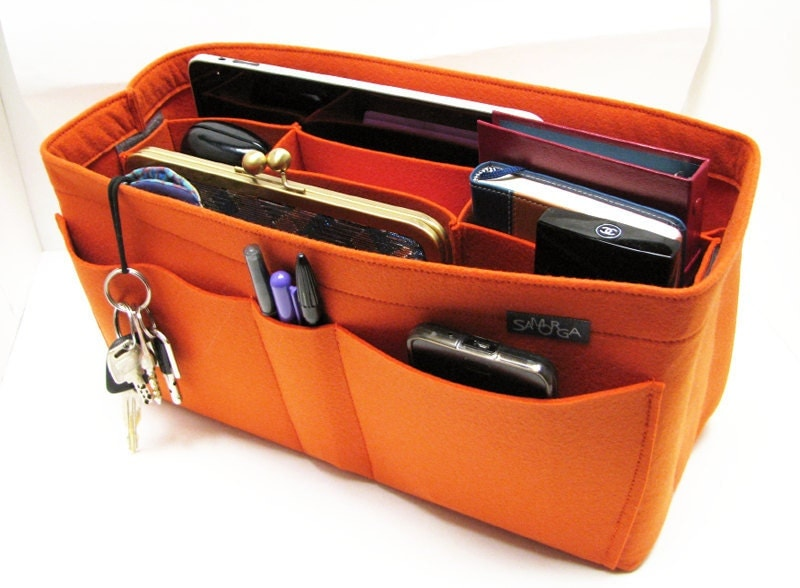 Orange felt bag organizer - X large size for travel (W 14in H 6.7in D 5.5in ), also for a school / baby bag, desk...