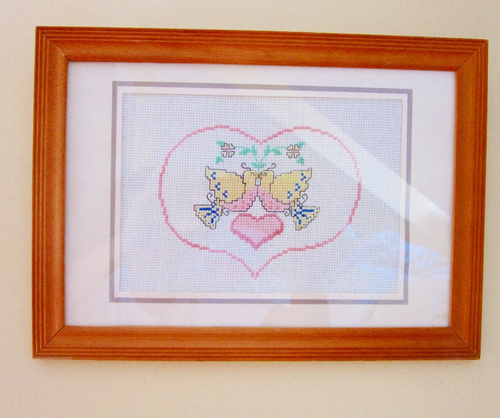 Heart and Doves Cross Stitch -Vintage Sampler