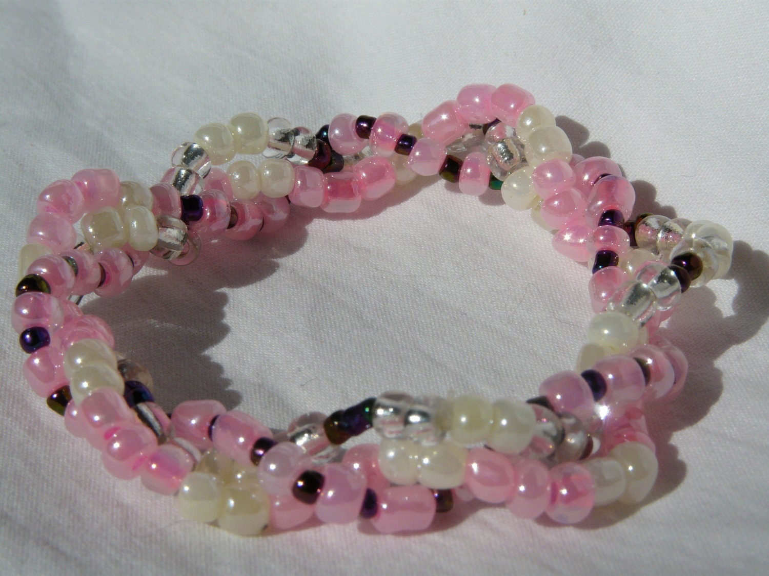 Pink With a Hint 3 Strand Beaded Stretch Bracelet - Custom Made to Size - Nonoluna