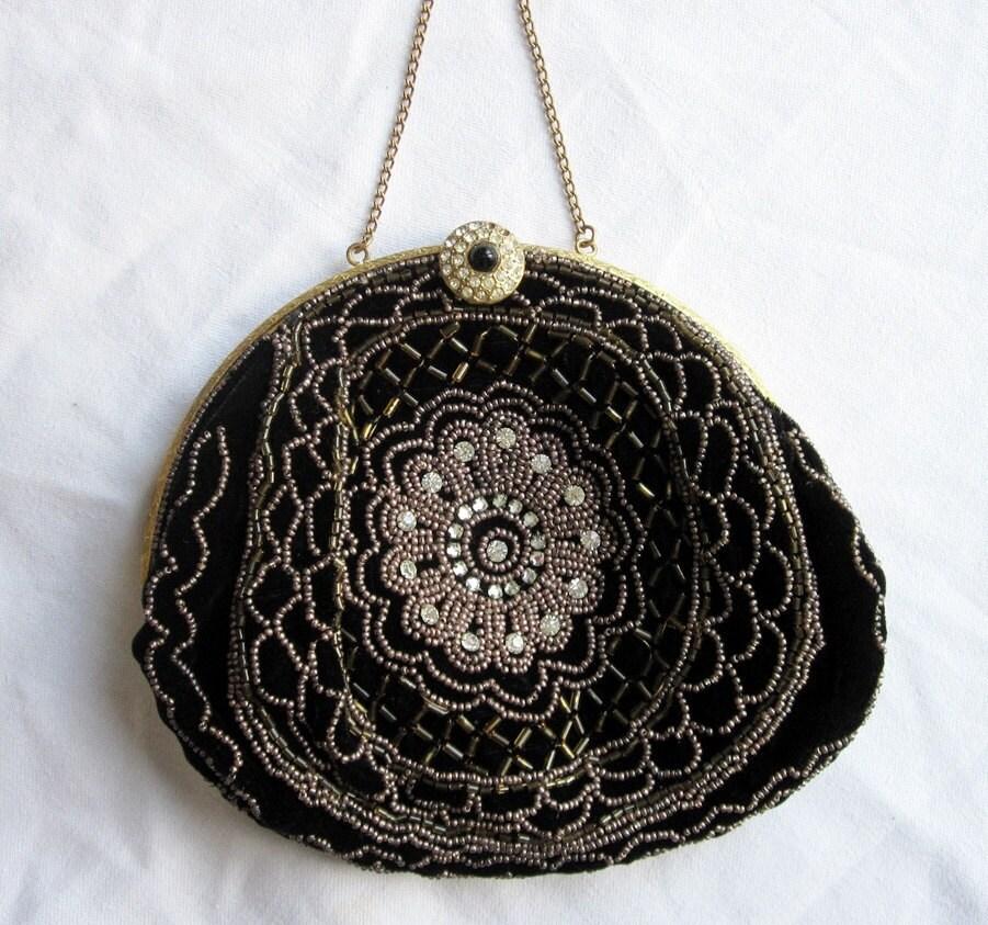 Black Velvet Evening Bag-1940s Hand Beaded