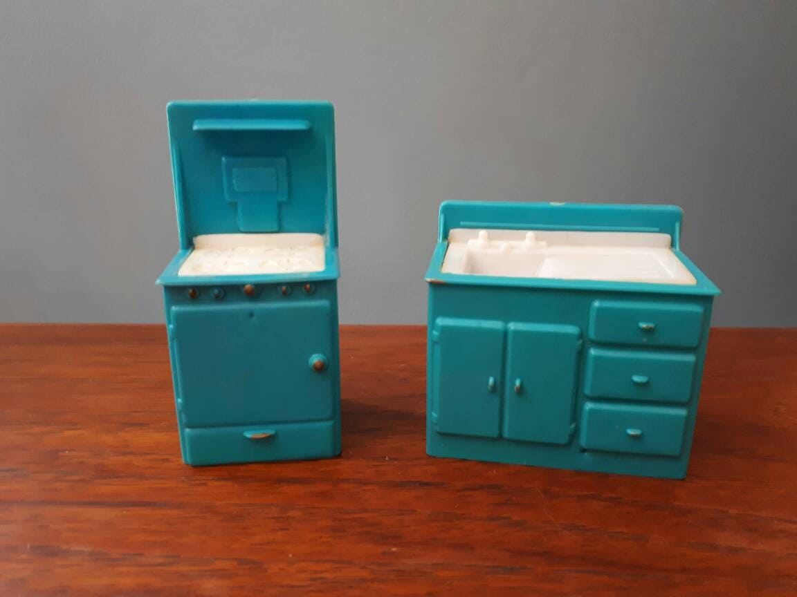 Vintage Aqua Dolls Kitchen Furniture Sink Oven
