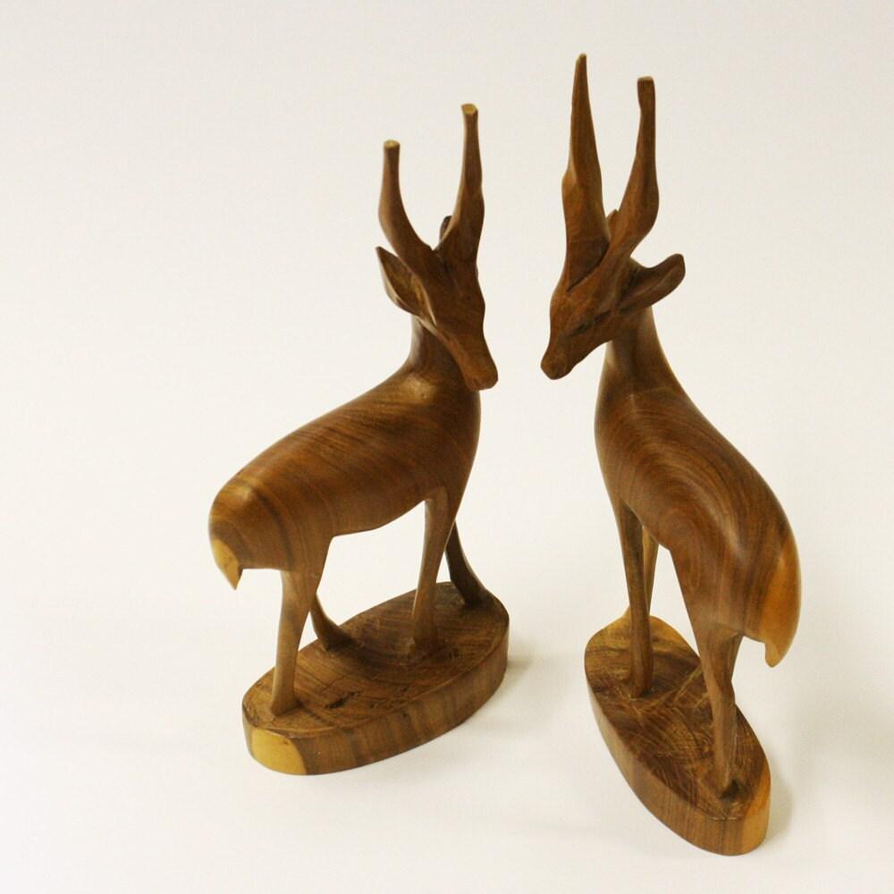 Vintage Wood Carving Gazelle Pair Animal By Oldcottonwood