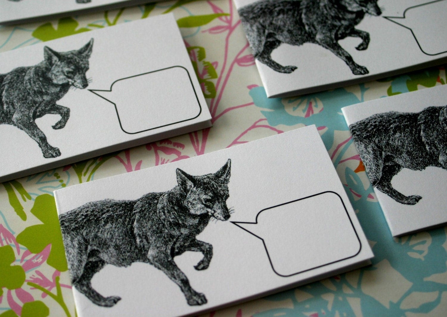 Fox Felicitations - Set of 5 Mini Notecards and 5 Handmade Envelopes