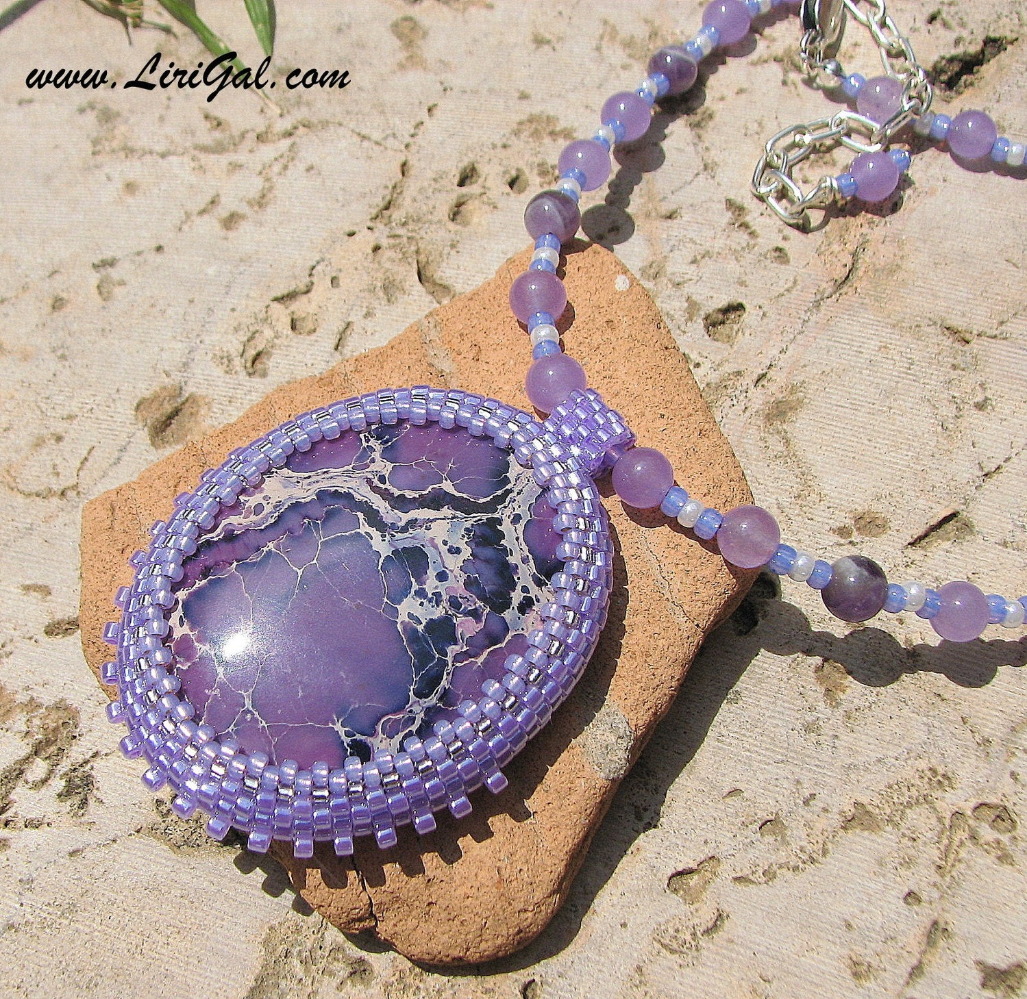 Purple African Turquoise  Beaded Cabochon Pendant