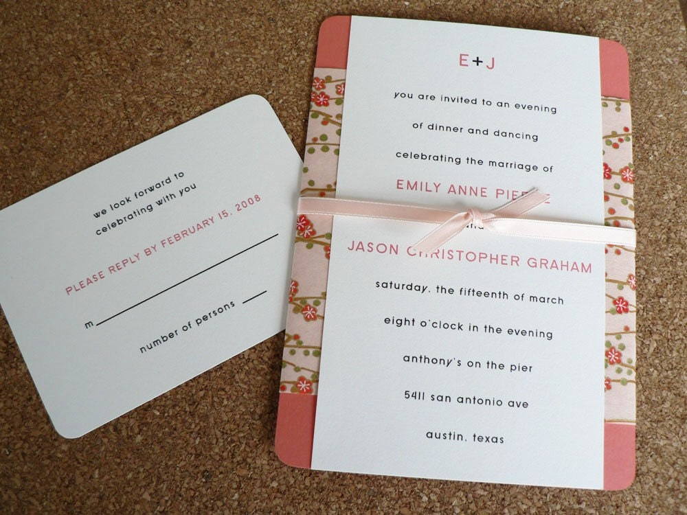 Wedding invitation set - Cherry Blossoms on peach