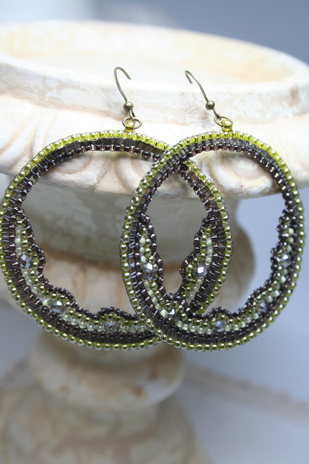 Olive Half Moon Beaded Hoop Earrings