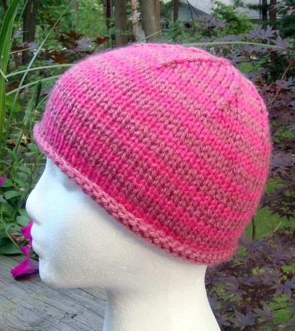 chemo or alopecia cap hand knit pink stripes by jmillenLovesToKnit