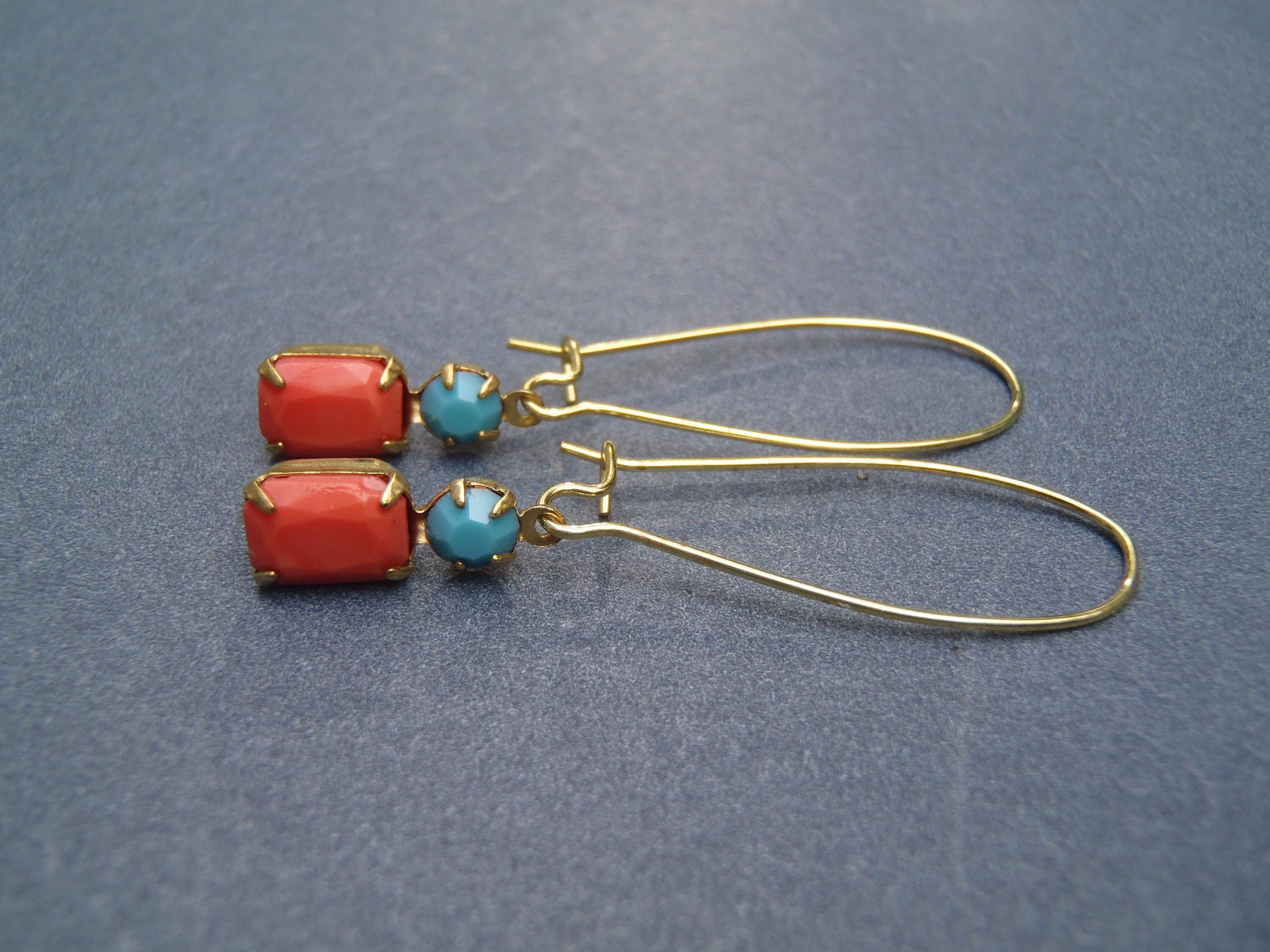 Vintage Style Coral and Turquoise Glass Stone Earrings