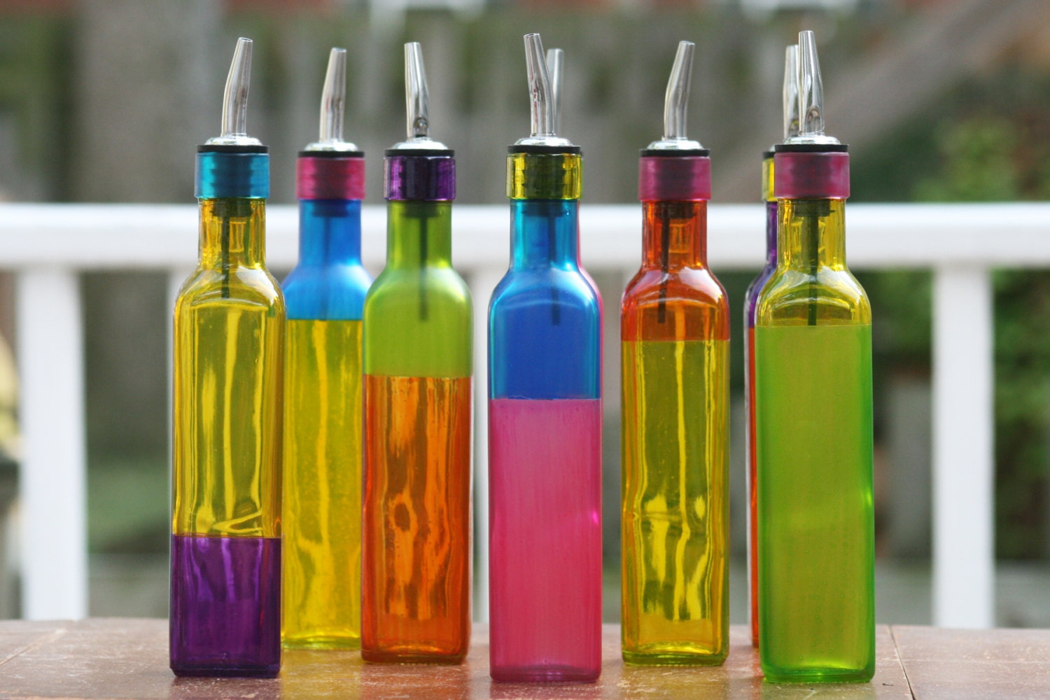 Colorful Glass Oil Bottle Pourer Perfect for Oil, Vinegar, Salad Dressing, or Kitchen Soap - Funktini