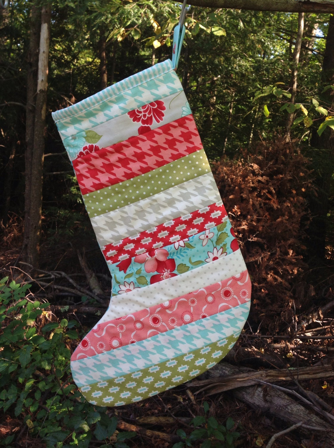 Scrappy christmas stocking quilted bliss ruby vintage modern