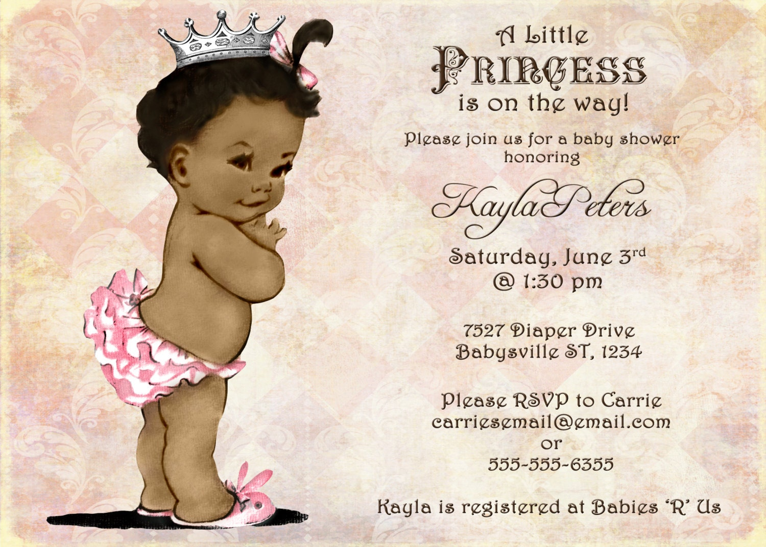 African American Baby Shower Invitation For Girl by jjMcBean