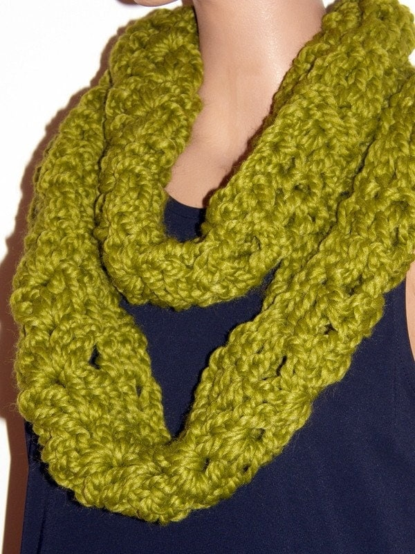 Mustard Green Colored Infinity Scarf Hand Crocheted ...