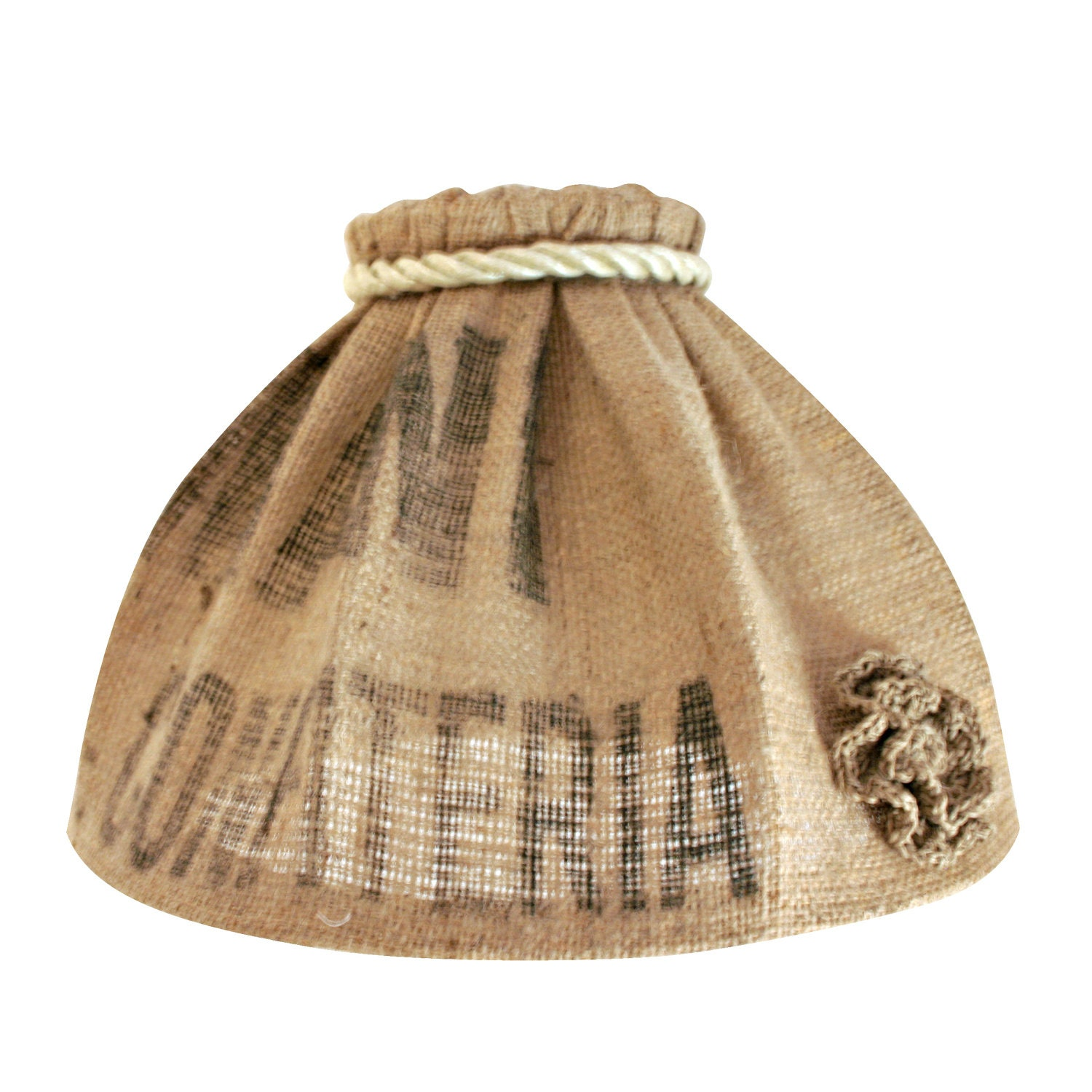 Very Cute Burlap Lamp Shade Made Of Recycled Materials By