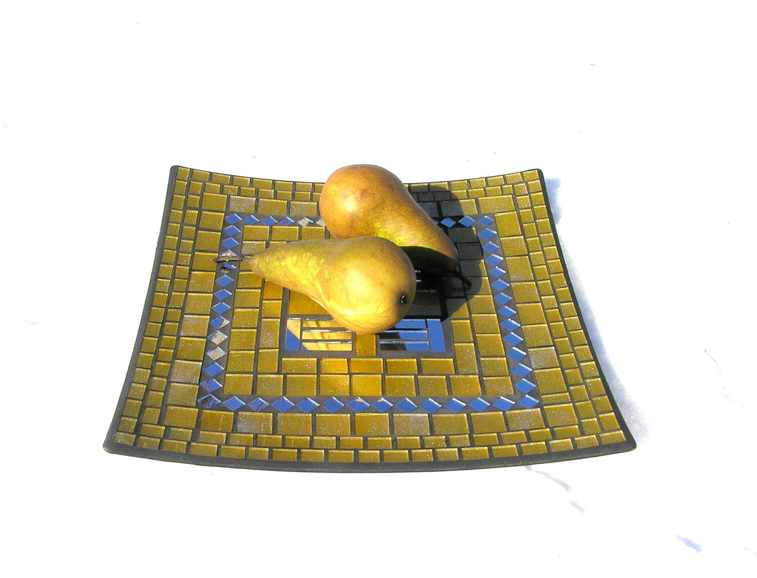 Golden yellow fruit platter designer mosaic chic modern home decor - SirliMosaic
