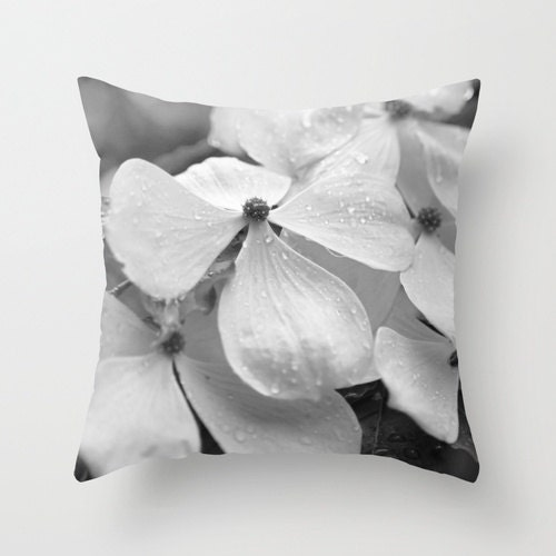 Black and White Flowering Dogwood Macro with Rain Drops - Throw Pillow Cover - Free Shipping - BrookeRyanPhoto