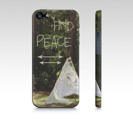 Boho Land iPhone Case OR Samsung Galaxy Case, Peace Quote, Teepee and Arrows Photo Cover for iPhone 4/4S/5 OR Samsung Galaxy 3/4