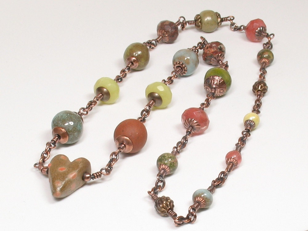 necklace made with ceramic art beads