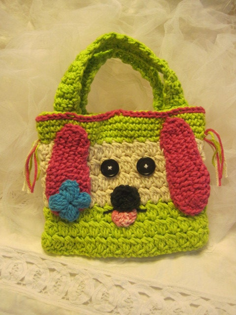 Crochet Bag For Kids : Crocheted Puppy Hand Bag for Children