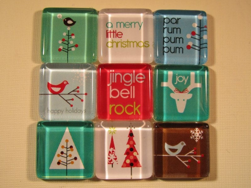 Christmas Decorations Fridge Magnets, Set of 9 Holiday Refrigerator Magnets with Storage Tin (set 34)