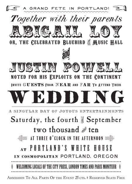 Broadside Vintage Victorian Wedding Invitation by royalsteamline