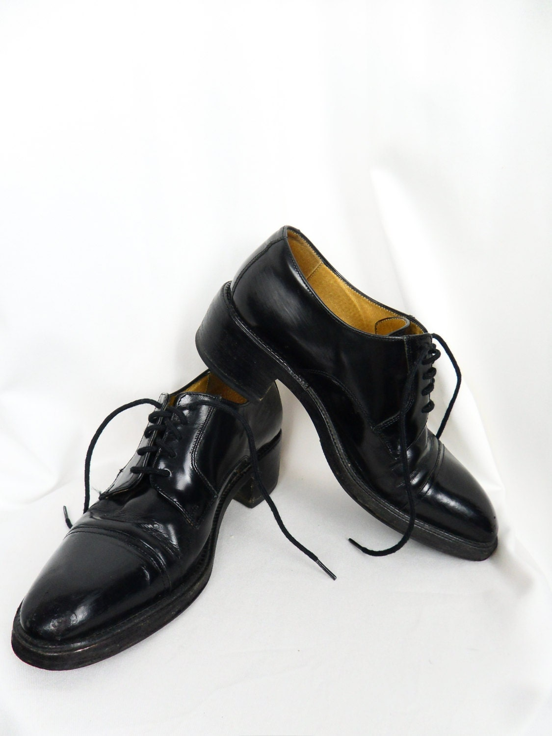 80s Sartore Paris black leather lace up oxfords/ made in France/ womens/ grunge hipster: size EU37/ US 6.5/ UK 4 - ModFashRedux