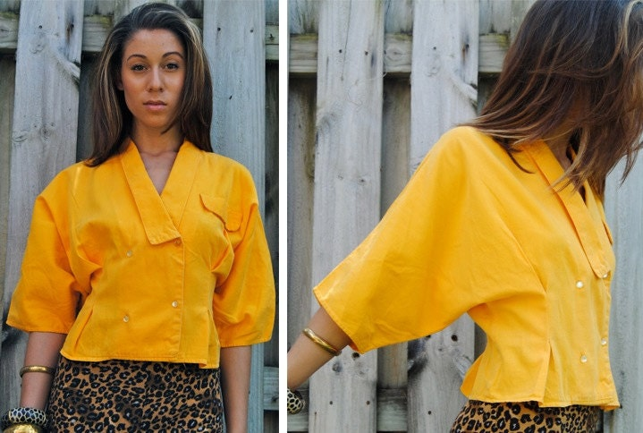 80s BOLD yellow batwing crop sleeve jacket top M