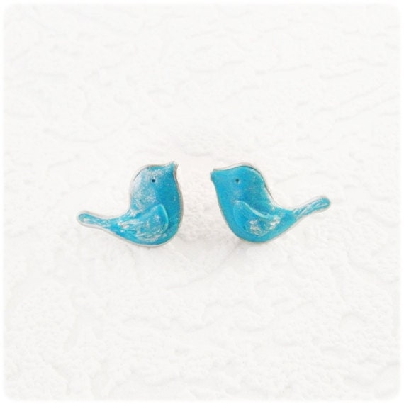 Little Blue Birds Earrings  -posts earrings - Free shipping Etsy - IrenkaR