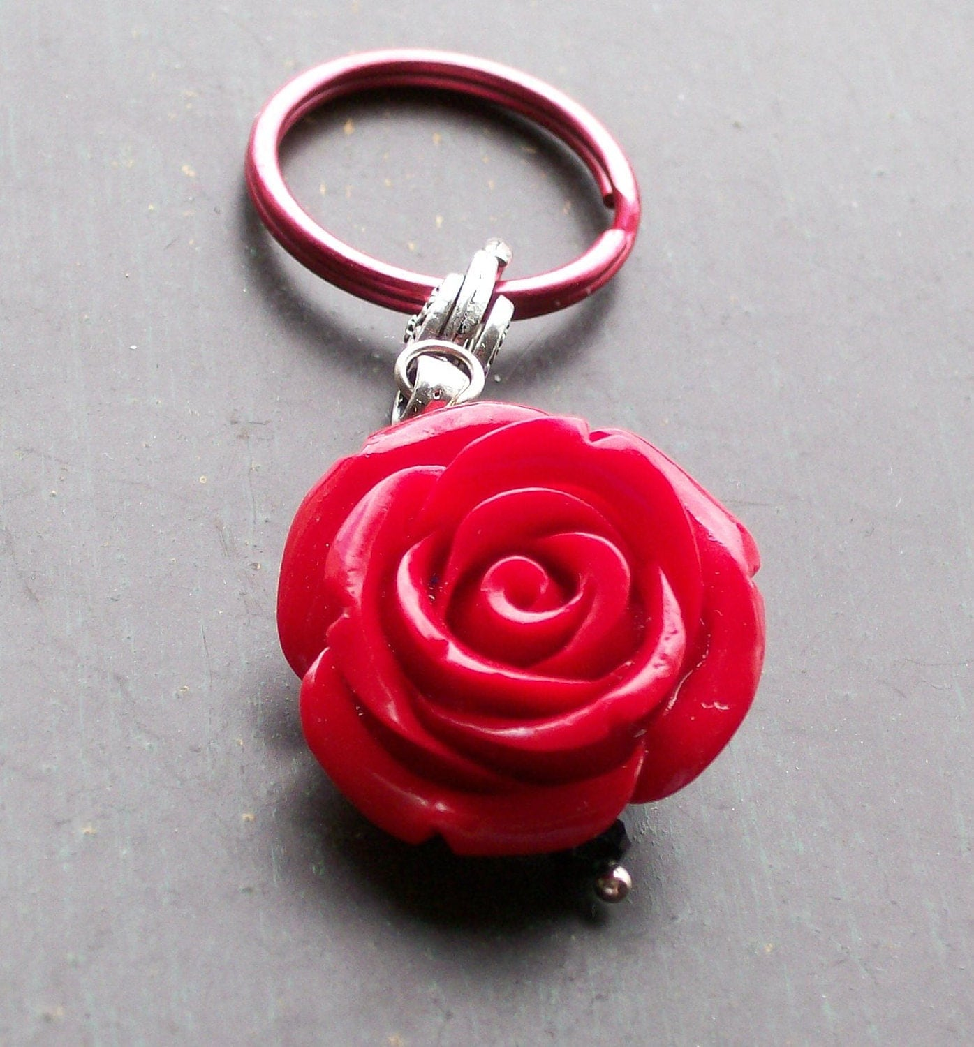 Red Rose Pendant Keychain by VivaGailBeads on Etsy