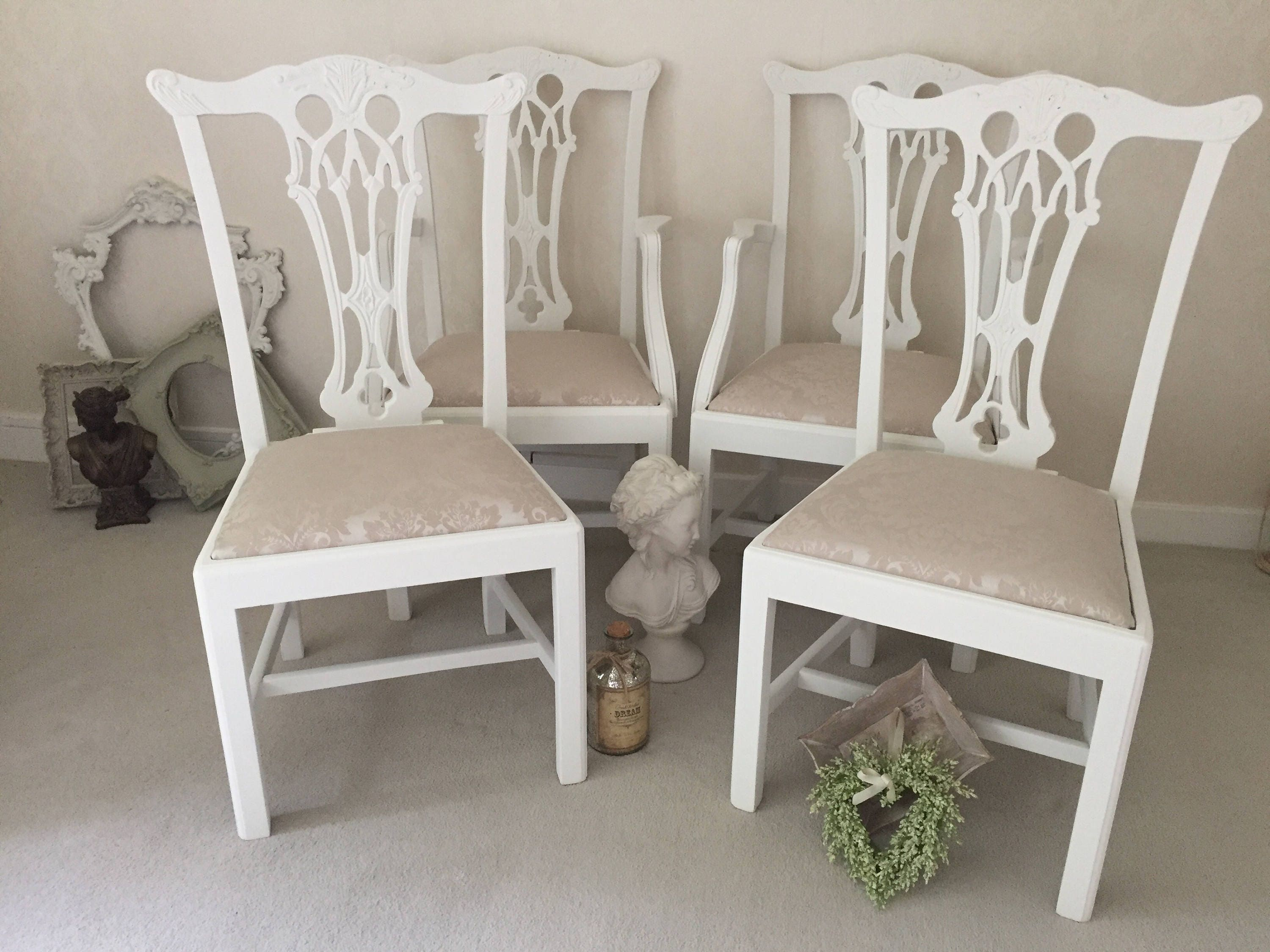 French Shabby Chic Dining Chairs Kitchen Dining Room Chairs Antique Wooden Chairs French Vintage Set Of 4 Chairs.