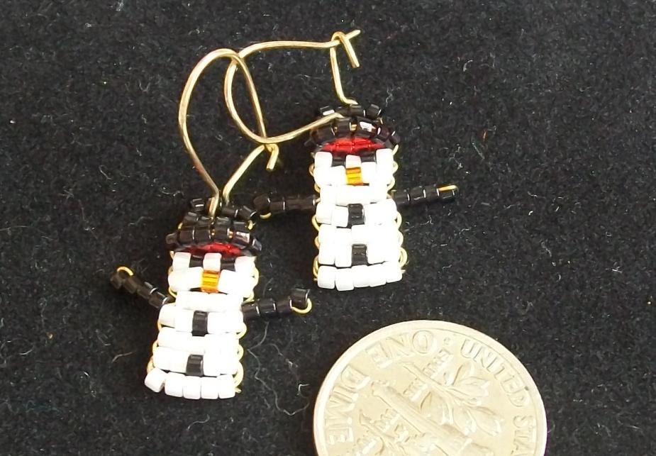 Beaded Snowmen Earrings