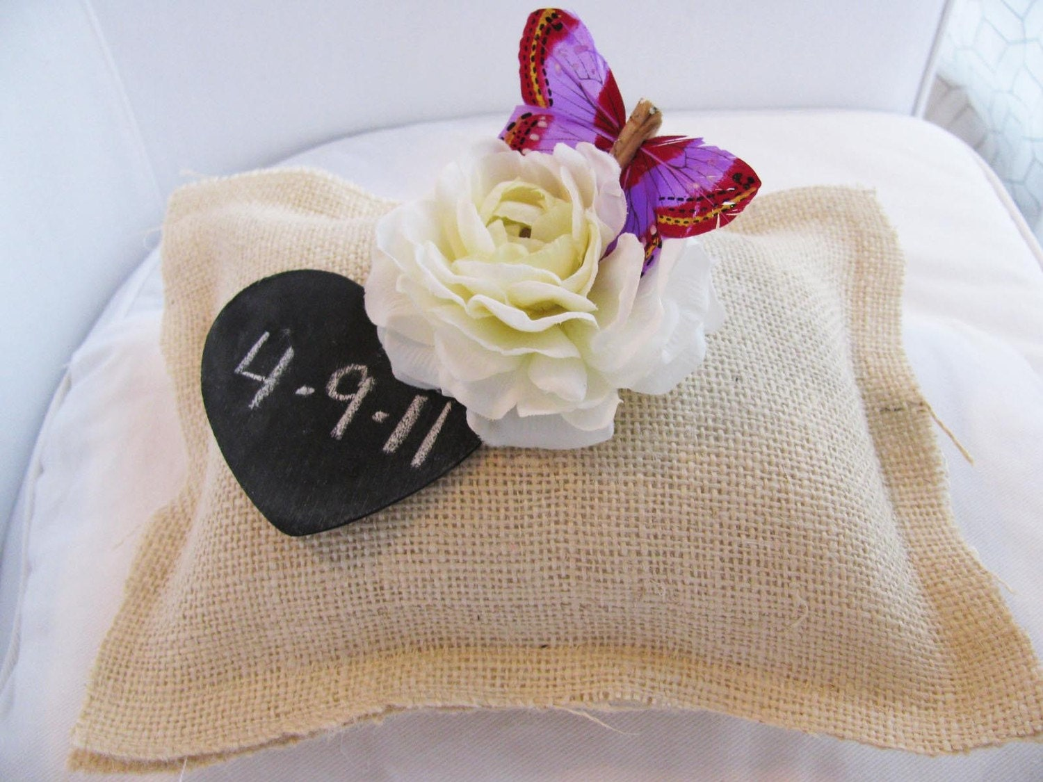 Woodland Outdoor Butterfly Rustic Burlap Wedding Ring Bearer Pillow Personalized Heart Chalkboard Tag You Customize Flowers