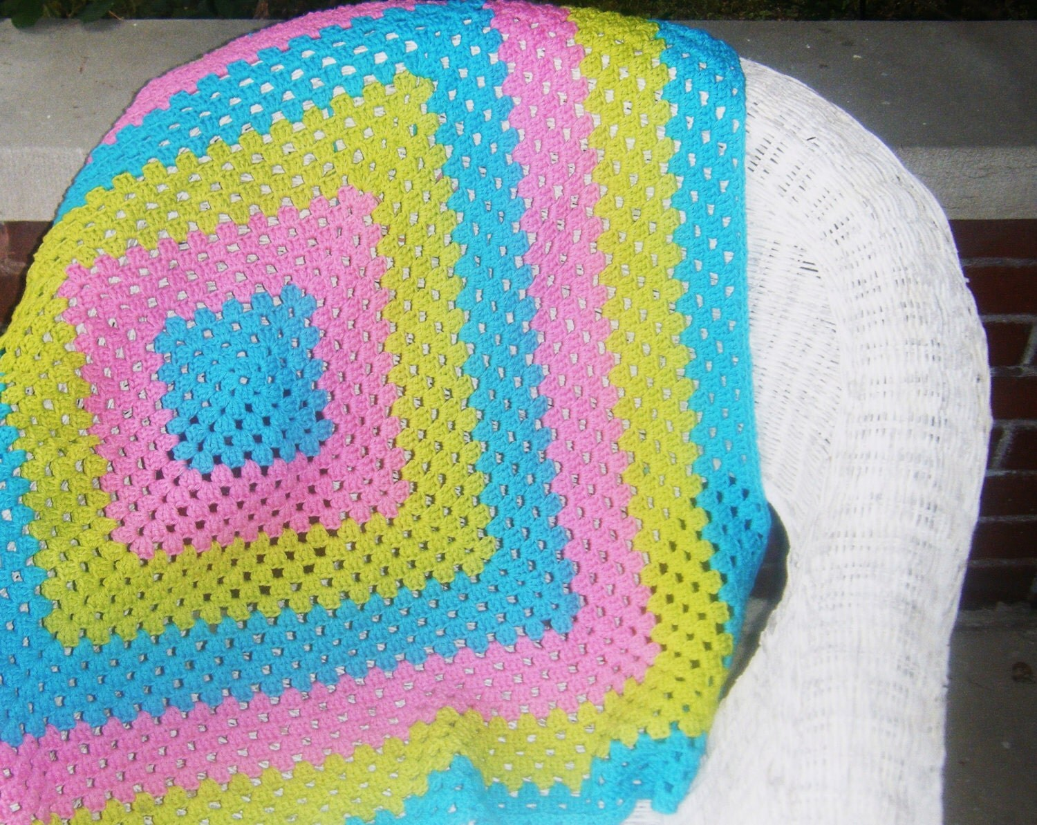 Crochet Cotton Blanket in Electric Colors