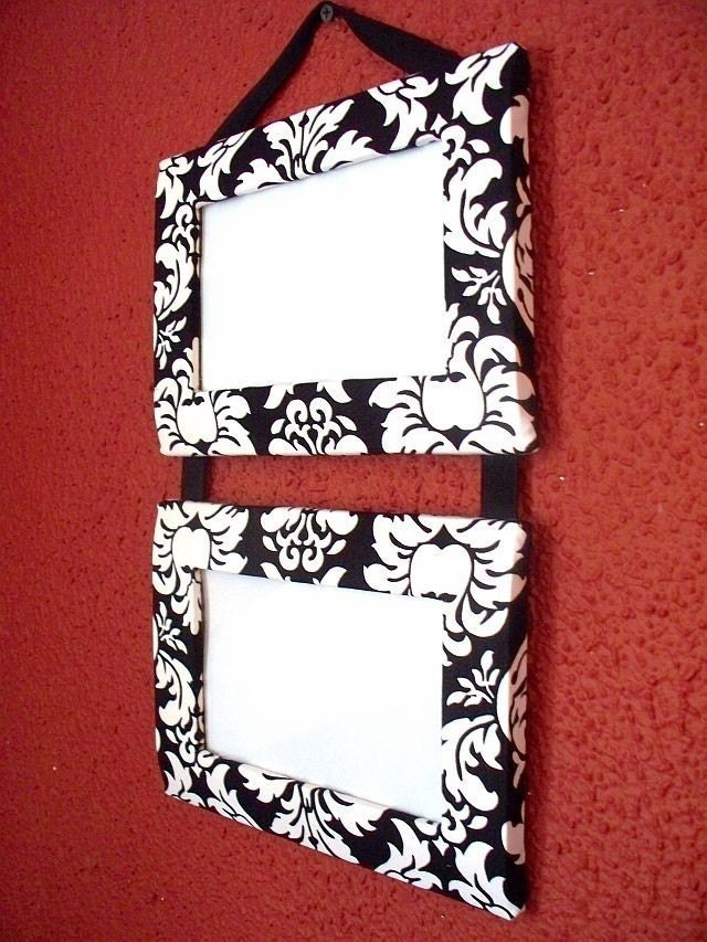 Hanging Ladder Frame Duo, Black and White Damask
