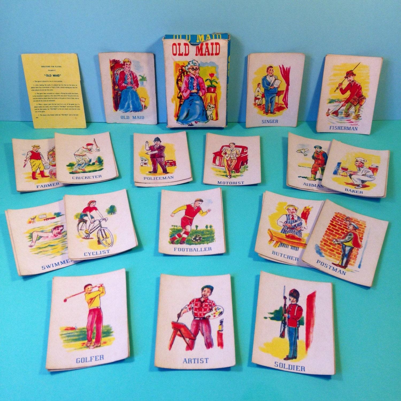 Card Game  1950s  Old Maid  Vintage  Vintage Card Games  Childrens Card Games