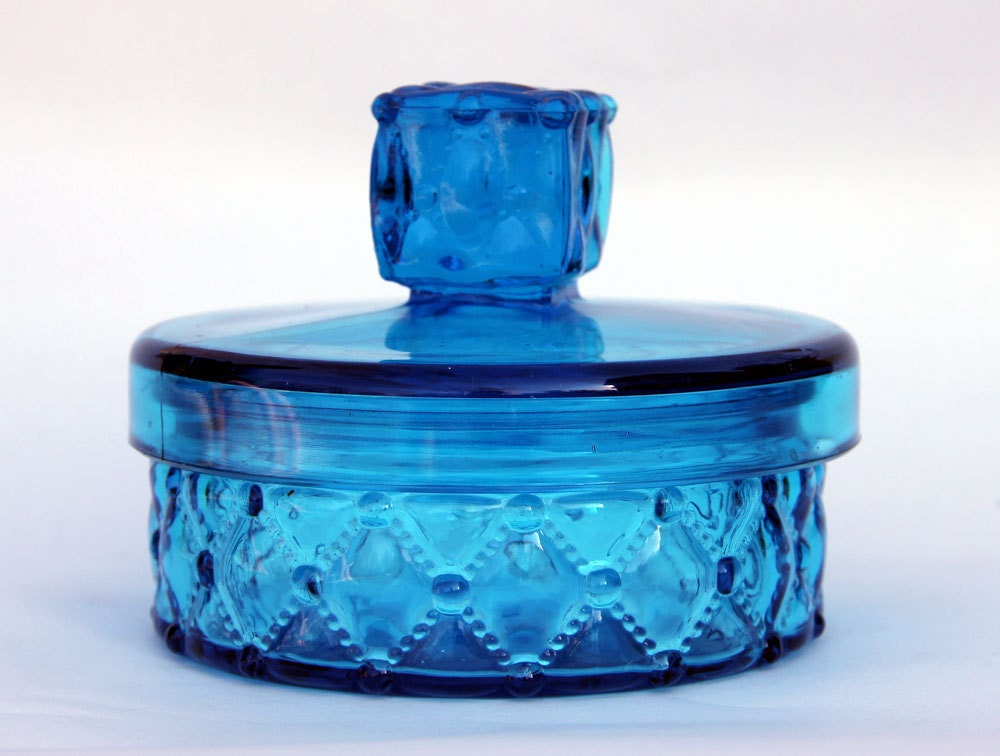 Vintage Turquoise Blue Glass Powder Jar