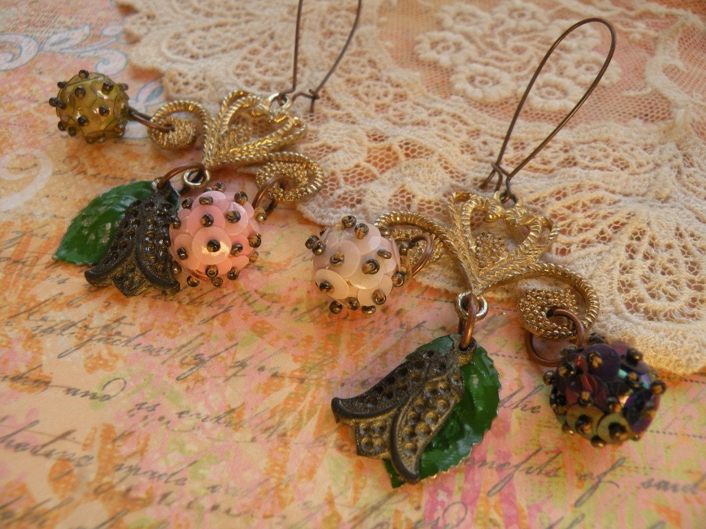 FETCHING aged charm earrings vintage drops tulips sequin balls filigree ooak one of a kind shabby chic assemblage altered