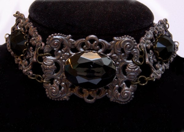 Gothic Vampire Victorian Jewelry Choker Necklace - Goth Halloween Jewellery - Immortal Beloved Choker