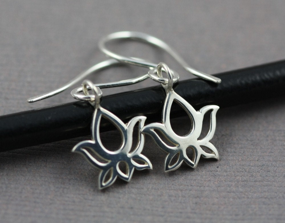 Sterling Silver Lotus Flower French Hook Earrings