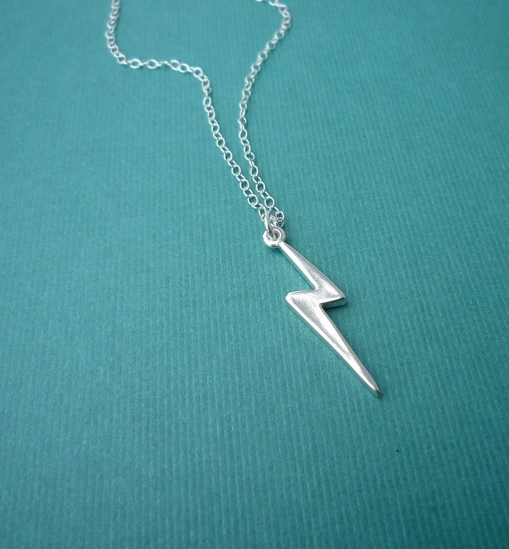 sterling silver lightning bolt necklace by cravejewelrydesign