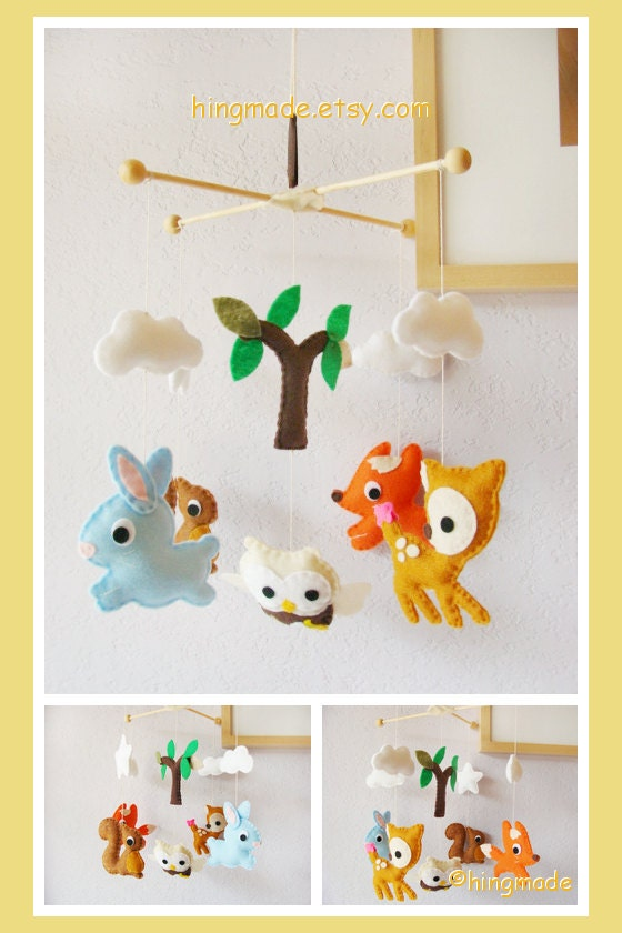 Baby mobile baby crib mobile forest animals by hingmade on for Woodland animals nursery mobile