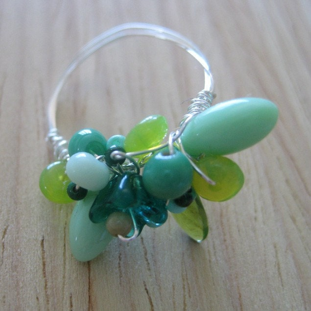 Green Paper Cranes - wire-wrapped ring