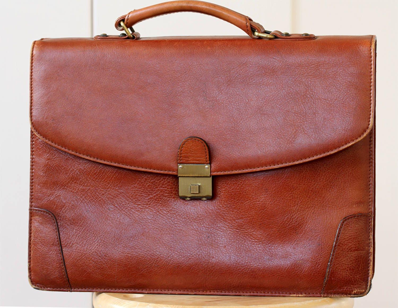 Honey Tan Leather Briefcase Vintage Tan Office Briefcase Lawyers Tan Brown Briefcase Honey Tan Leather Laptop bag Dark tan Briefcase