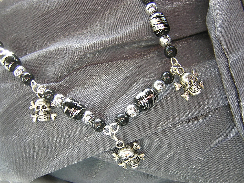 Geek Chic Black and Silver Pirate Skull and Crossbones Necklace - Handmade by Rewondered D225N-00126 - $18.95