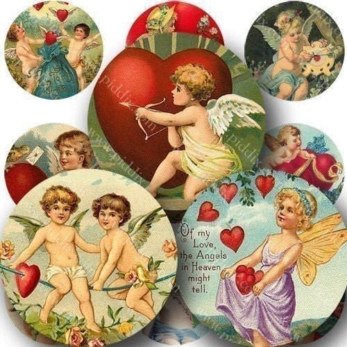 New -- Valentine Cherubs in 1-inch Circles Two for bottlecap art and more -- piddix digital collage sheet no. 254