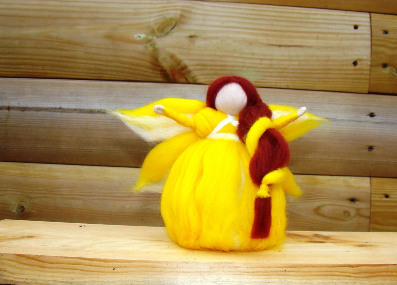 cupcake fairy buttercup pixie yellow angel Waldorf doll needle felt angel woodland elf kendal fairies Steiner angel Steiner fairy dolls UK