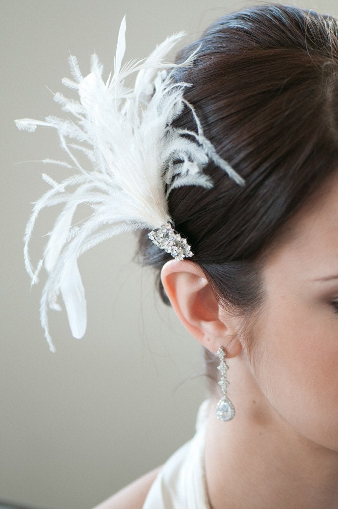 ERIN - Ivory Feather Fascinator