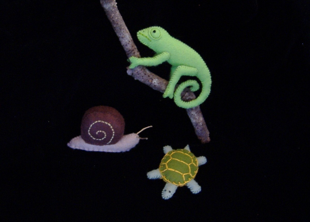 Slimy Snail Crawling Chameleon and Tranquil Turtle PDF Toy Pattern