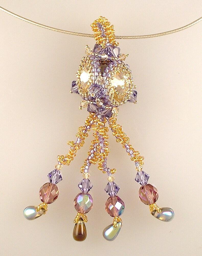 Beaded Rivoli Peyote Stitch Swarovski Purple Gold Pendant