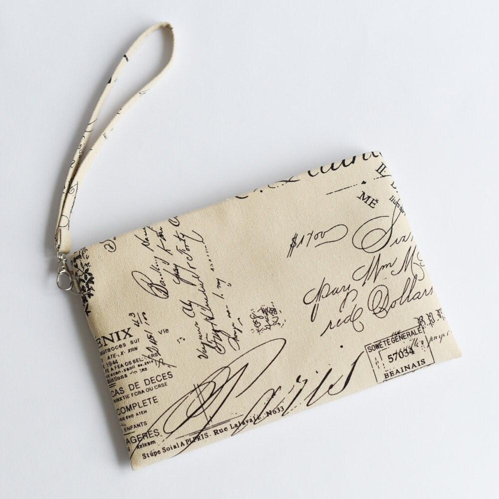 9 inch Wristlet Simple Clutch Bag Cotton Canvas Purse Pouch Small Bag Elegant Pouch Bridesmaid Purse Gadgets Accessories Holder Travel Pouch